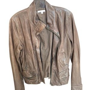 Vince Brown Distressed Leather Jacket